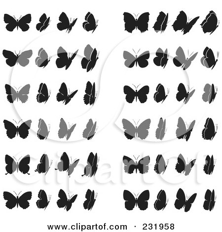 Royalty-Free (RF) Clipart Illustration of a Digital Collage Of Black And White Butterflies - 1 by Frisko