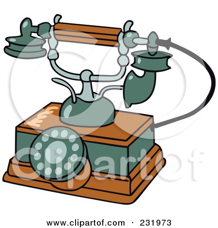 Royalty-Free (RF) Clipart Illustration of a Retro Wooden And Green Phone by Frisko