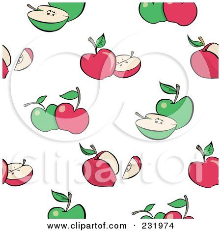 Royalty-Free (RF) Clipart Illustration of a Seamless Green And Red Apple Background by Frisko