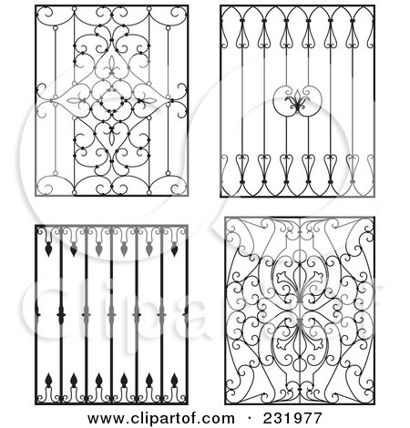 Royalty-Free (RF) Clipart Illustration of a Digital Collage Of Wrought Iron Designs - 4 by Frisko