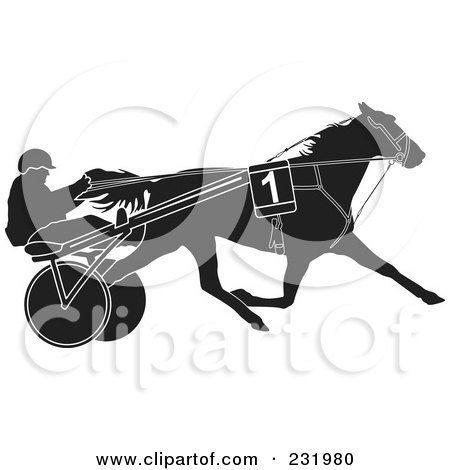 Royalty-Free (RF) Clipart Illustration of a Black And White Trotter Horse by Frisko