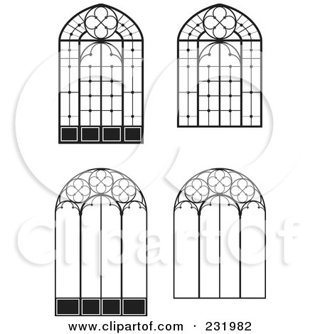 Royalty-Free (RF) Clipart Illustration of a Digital Collage Of Wrought Iron Designs - 3 by Frisko