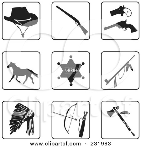 Royalty-Free (RF) Clipart Illustration of a Digital Collage Of Black And White Old West Icons by Frisko