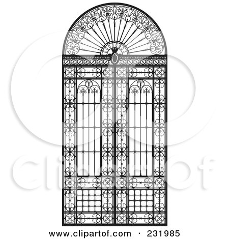Royalty-Free (RF) Clipart Illustration of a Wrought Iron Gate Or Window by Frisko