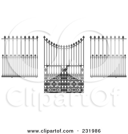 Royalty-Free (RF) Clipart Illustration of a Digital Collage Of Wrought Iron Designs - 1 by Frisko