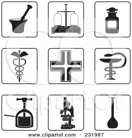 Royalty-Free (RF) Clipart Illustration of a Digital Collage Of Black And White Pharmacy Icons by Frisko