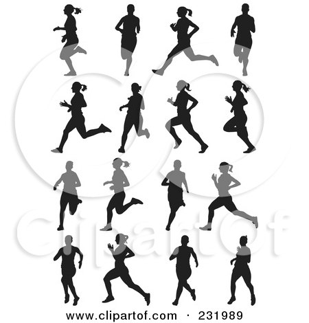 Royalty-Free (RF) Clipart Illustration of a Digital Collage Of Black And White Women Running by Frisko