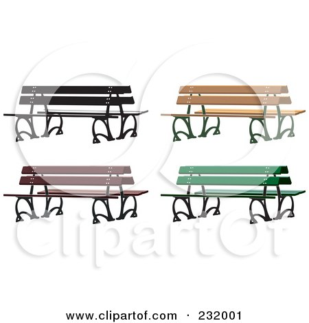 Royalty-Free (RF) Clipart Illustration of a Digital Collage Of Park Benches by Frisko