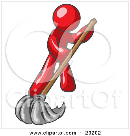 Clipart Illustration of a Red Man Wearing A Tie, Using A Mop While Mopping A Hard Floor To Clean Up A Mess Or Spill by Leo Blanchette