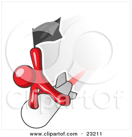 Clipart Illustration of a Red Man Waving A Flag While Riding On Top Of A Fast Missile Or Rocket, Symbolizing Success by Leo Blanchette