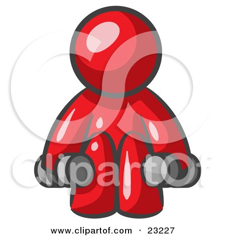 Clipart Illustration of a Red Man Lifting Dumbells While Strength Training by Leo Blanchette