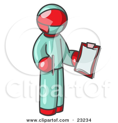 Red Surgeon Man in Green Scrubs, Holding a Pen and Clipboard Posters, Art Prints