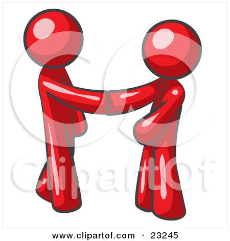 Clipart Illustration of a Red Man Wearing A Tie, Shaking Hands With Another Upon Agreement Of A Business Deal by Leo Blanchette