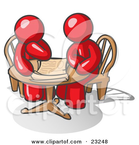 Clipart Illustration of Two Red Businessmen Sitting at a Table, Discussing Papers by Leo Blanchette