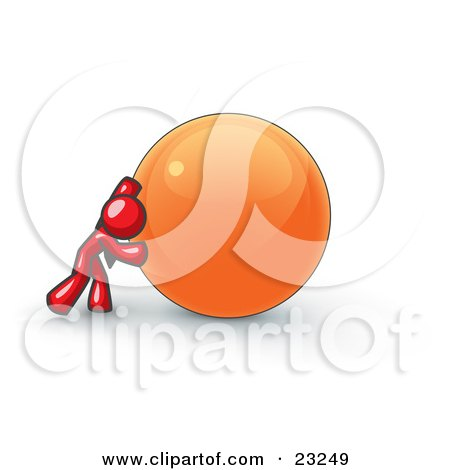 Clipart Illustration of a Strong Red Business Man Pushing an Orange Sphere  by Leo Blanchette
