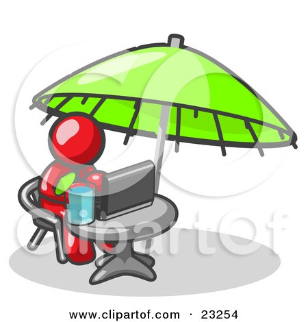 Clipart Illustration of a Traveling Red Business Man Sitting Under an Umbrella at a Table Using a Laptop Computer  by Leo Blanchette