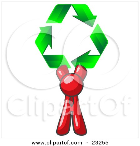 Clipart Illustration of a Red Man Holding Up Three Green Arrows Forming A Triangle And Moving In A Clockwise Motion, Symbolizing Renewable Energy And Recycling by Leo Blanchette