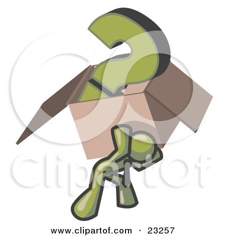 Clipart Illustration of an Olive Green Man Carrying a Heavy Question Mark in a Box by Leo Blanchette