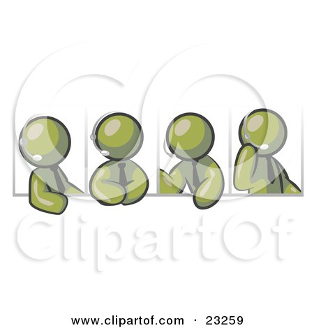 Clipart Illustration of Four Different Olive Green Men Wearing Headsets And Having A Discussion During A Phone Meeting by Leo Blanchette