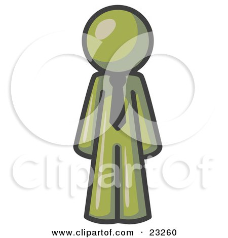 Clipart Illustration of an Olive Green Business Man Wearing a Tie, Standing With His Arms at His Side by Leo Blanchette