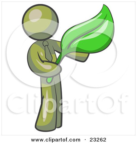 Clipart Illustration of an Olive Green Man Holding A Green Leaf, Symbolizing Gardening, Landscaping Or Organic Products by Leo Blanchette