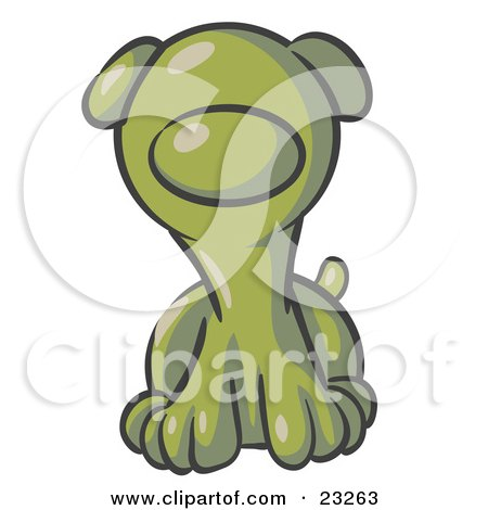 Clipart Illustration of a Cute Olive Green Puppy Dog Looking Curiously at the Viewer by Leo Blanchette