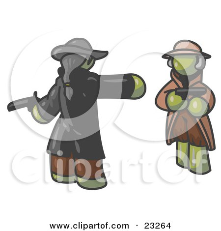 Clipart Illustration of an Olive Green Man Challenging Another Olive Green Man to a Duel With Pistils  by Leo Blanchette