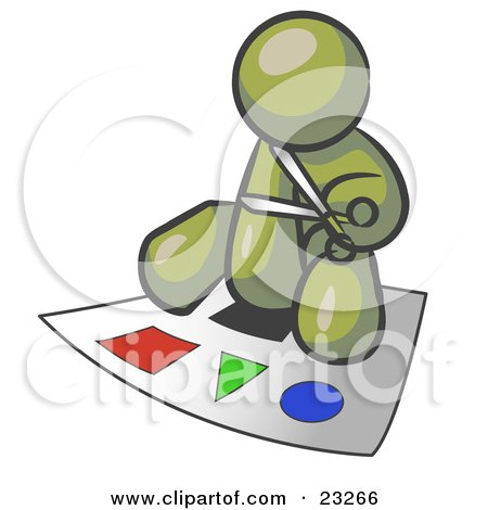 Clipart Illustration of an Olive Green Man Holding A Pair Of Scissors And Sitting On A Large Poster Board With Colorful Shapes by Leo Blanchette