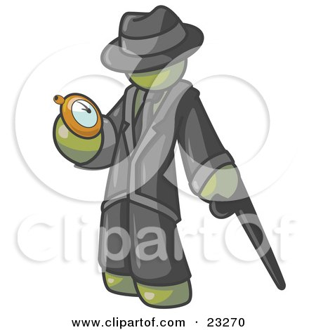 Clipart Illustration of an Olive Green Businessman Checking His Pocket Watch by Leo Blanchette