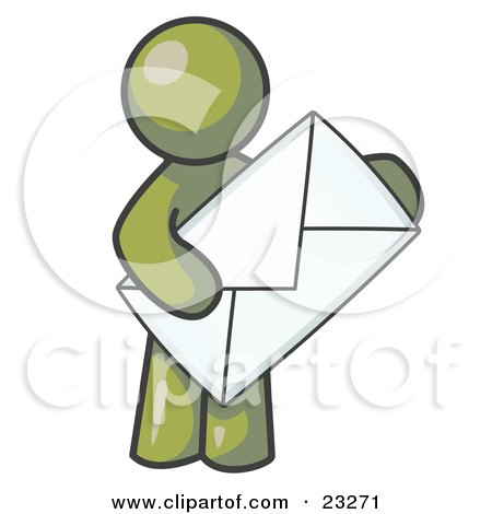 Clipart Illustration of an Olive Green Person Standing And Holding A Large Envelope, Symbolizing Communications And Email by Leo Blanchette