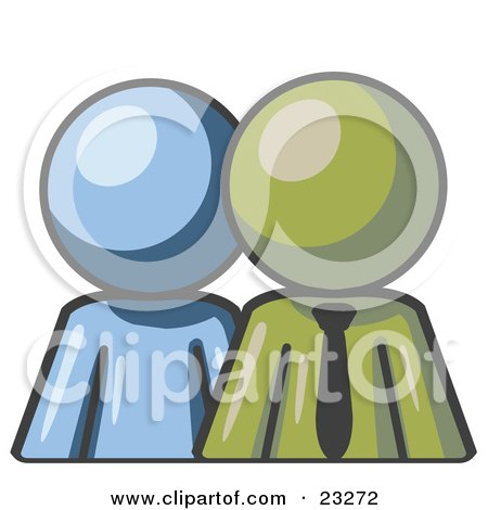 Clipart Illustration of a Blue Person Standing Beside An Olive Green Businessman, Symbolizing Teamwork Or Mentoring by Leo Blanchette