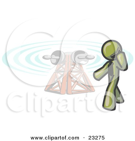 Clipart Illustration of an Olive Green Businessman Talking on a Cell Phone, a Communications Tower in the Background by Leo Blanchette