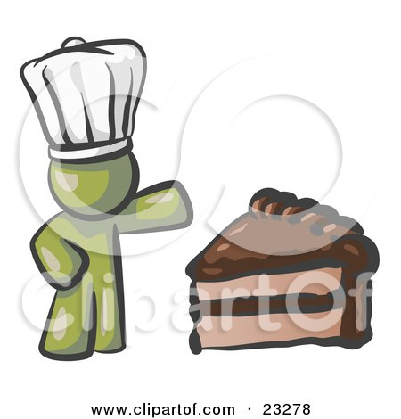 Clipart Illustration of an Olive Green Chef Man Wearing A White Hat And Presenting A Tasty Slice Of Chocolate Frosted Cake by Leo Blanchette