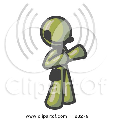 Clipart Illustration of an Olive Green Customer Service Representative Taking a Call With a Headset in a Call Center by Leo Blanchette