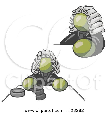 Clipart Illustration of an Olive Green Judge Man Wearing a Wig in Court by Leo Blanchette