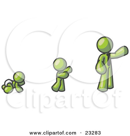 Clipart Illustration of an Olive Green Man in His Growth Stages of Life, as a Baby, Child and Adult by Leo Blanchette