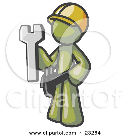 Clipart Illustration of a Proud Olive Green Construction Worker Man in a Hardhat, Holding a Wrench Clipart Illustration by Leo Blanchette