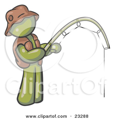 Clipart Illustration of an Olive Green Man Wearing A Hat And Vest And Holding A Fishing Pole by Leo Blanchette