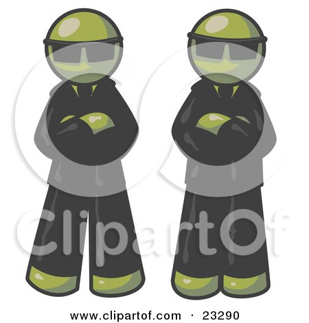 Clipart Illustration of Two Olive Green Men Standing With Their Arms Crossed, Wearing Sunglasses and Black Suits by Leo Blanchette