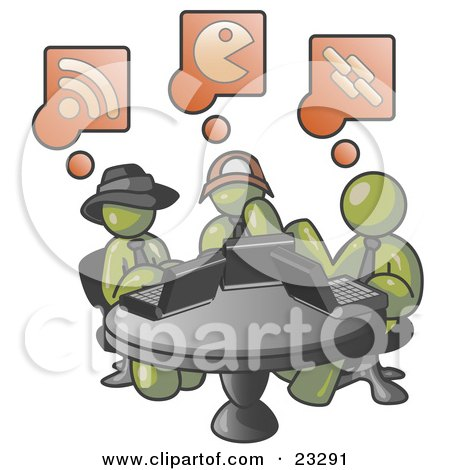 Clipart Illustration of Three Olive Green Men Using Laptops in an Internet Cafe by Leo Blanchette