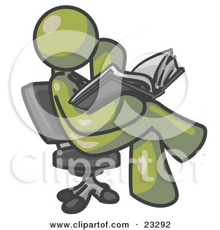 Clipart Illustration of an Olive Green Man Sitting Cross Legged in a Chair and Reading a Book by Leo Blanchette