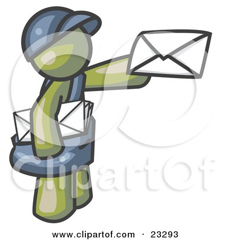 Clipart Illustration of an Olive Green Mail Man Delivering a Letter by Leo Blanchette