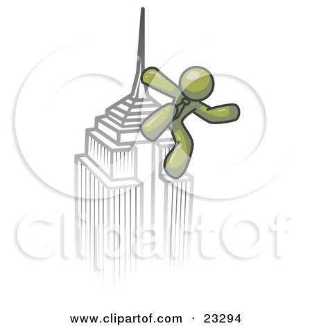 Clipart Illustration of an Olive Green Man Climbing to the Top of a Skyscraper Tower Like King Kong, Success, Achievement by Leo Blanchette