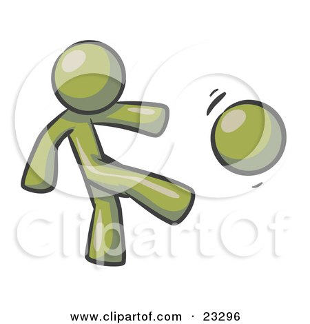 Clipart Illustration of an Olive GreenMan Kicking A Ball Really Hard While Playing A Game by Leo Blanchette
