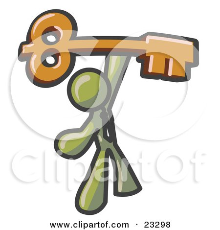 Clipart Illustration of an Olive Green Businessman Holding A Large Golden Skeleton Key, Symbolizing Success by Leo Blanchette
