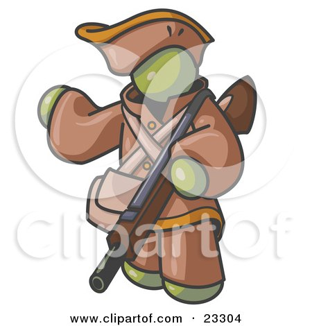 Clipart Illustration of an Olive Green Man in Hunting Gear, Carrying a Rifle by Leo Blanchette