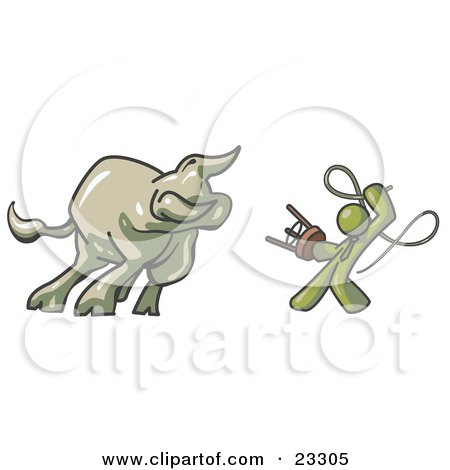 Clipart Illustration of an Olive Green Man Holding a Stool and Whip While Taming a Bull, Bull Market by Leo Blanchette