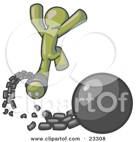 Clipart Illustration of an Olive Green Man Jumping For Joy While Breaking Away From a Ball and Chain, Symbolizing Freedom From Debt Or Divorce by Leo Blanchette