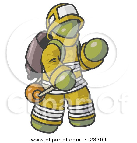 Clipart Illustration of an Olive Green Fireman in a Uniform, Fighting a Fire by Leo Blanchette