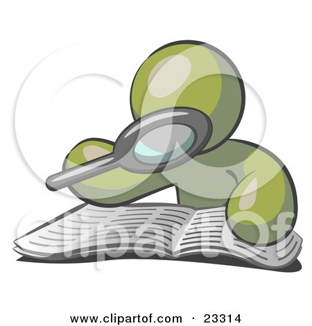 Clipart Illustration of an Olive Green Man Using A Magnifying Glass To Examine The Facts In The Daily Newspaper by Leo Blanchette